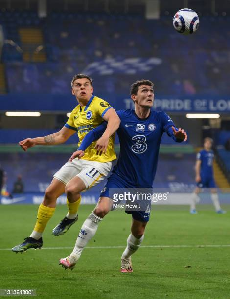 Andreas Christensen of Chelsea battles with Leandro Trossard of Brighton & Hove Albion during the Premier League match between Chelsea and Brighton &...