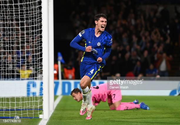 Andreas Christensen of Chelsea celebrates after scoring their team's first goal during the UEFA Champions League group H match between Chelsea FC and...