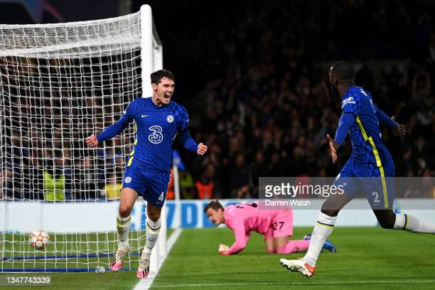 Andreas Christensen of Chelsea celebrates with teammate Antonio Ruediger after scoring their team's first goal during the UEFA Champions League group...