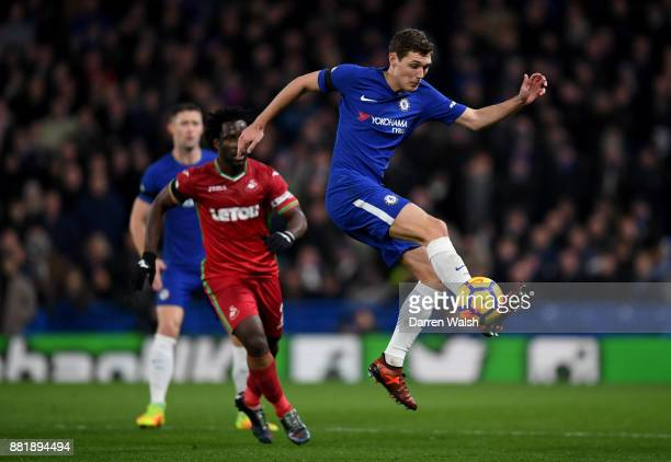 Andreas Christensen of Chelsea controls the ball during the Premier League match between Chelsea and Swansea City at Stamford Bridge on November 29...