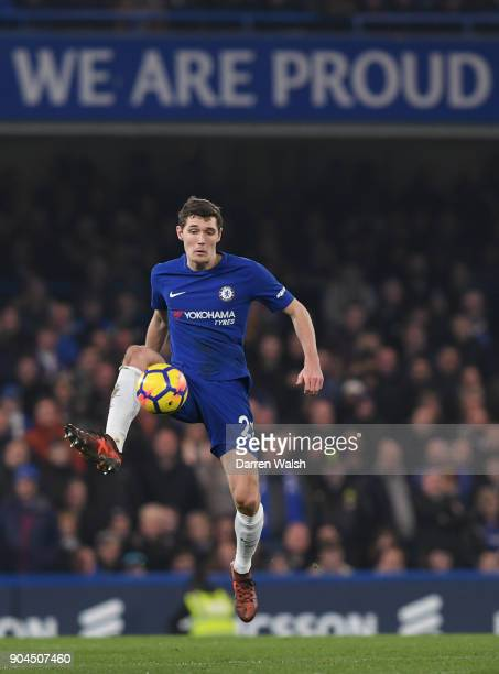Andreas Christensen of Chelsea controls the ball during the Premier League match between Chelsea and Leicester City at Stamford Bridge on January 13...