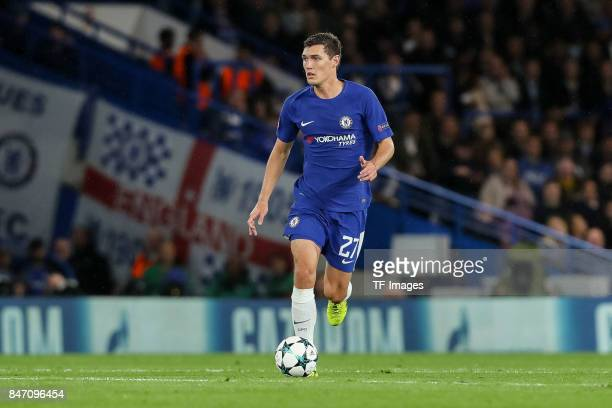 Andreas Christensen of Chelsea controls the ball during the UEFA Champions League group C match between Chelsea FC and Qarabag FK at Stamford Bridge...