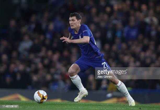 Andreas Christensen of Chelsea controls the ball during the UEFA Europa League Semi Final Second Leg match between Chelsea and Eintracht Frankfurt at...