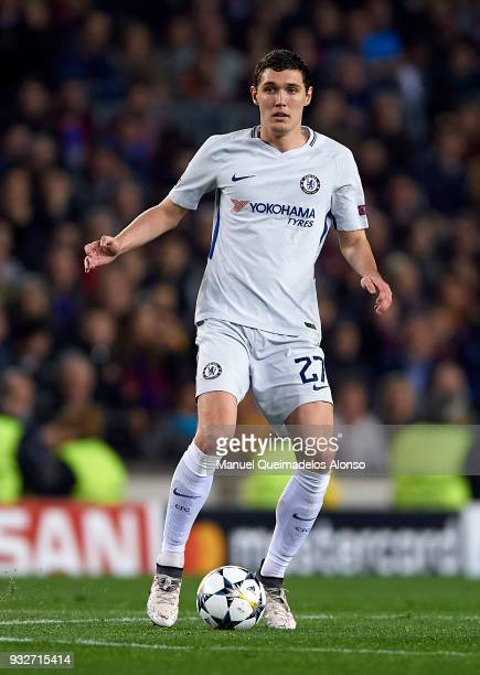 Andreas Christensen of Chelsea drives the ball during the UEFA Champions League Round of 16 Second Leg match between FC Barcelona and Chelsea FC at...