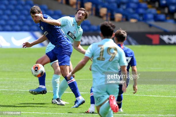 Andreas Christensen of Chelsea during a friendly match between Chelsea and Queens Park Rangers at Stamford Bridge on June 14 2020 in London England