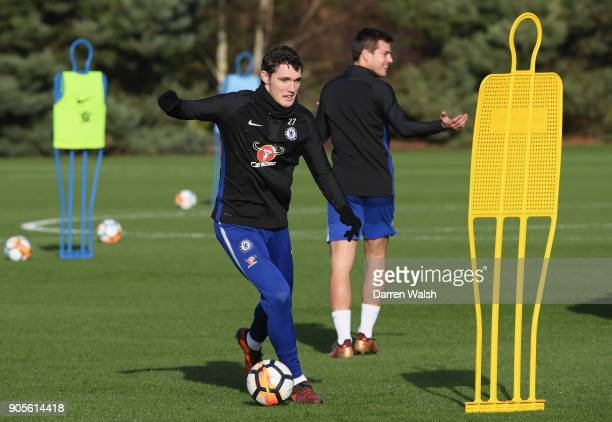 Andreas Christensen of Chelsea during a training session at Chelsea Training Ground on January 16 2018 in Cobham England