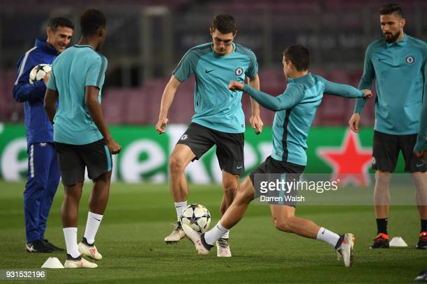 Andreas Christensen of Chelsea during a training session at Nou Camp on March 13 2018 in Barcelona Spain