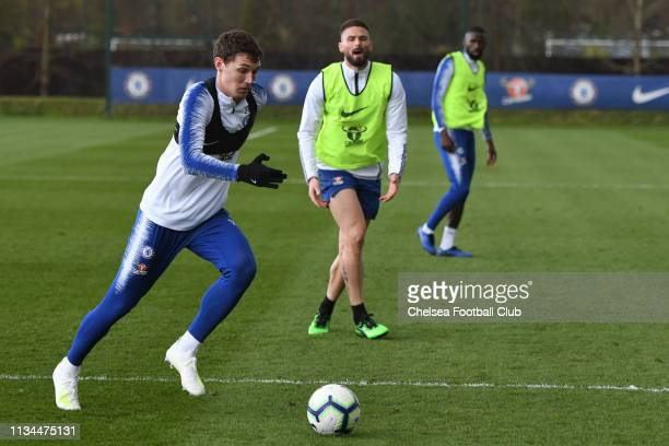 Andreas Christensen of Chelsea during the afternoon training session at Chelsea Training Ground on April 2 2019 in Cobham England
