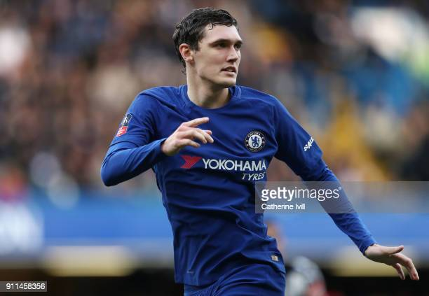 Andreas Christensen of Chelsea during the Emirates FA Cup Fourth Round match between Chelsea and Newcastle United on January 28 2018 in London United...