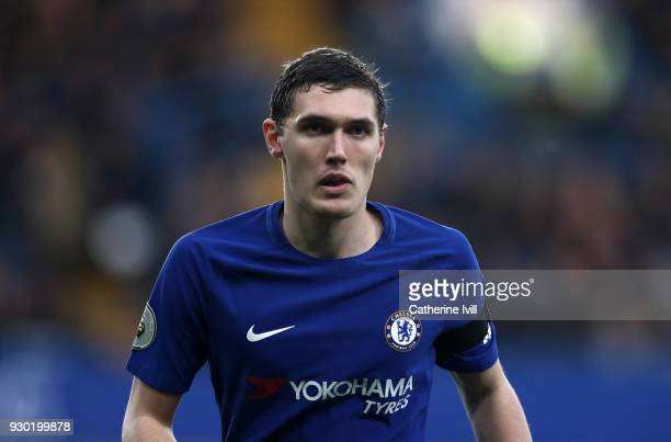 Andreas Christensen of Chelsea during the Premier League match between Chelsea and Crystal Palace at Stamford Bridge on March 10 2018 in London...