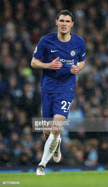 Andreas Christensen of Chelsea during the Premier League match between Manchester City and Chelsea at Etihad Stadium on March 4 2018 in Manchester...