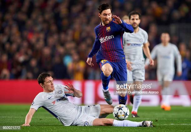 Andreas Christensen of Chelsea FC competes for the ball with Lionel Messi of FC Barcelona during the UEFA Champions League Round of 16 Second Leg...