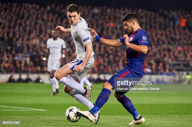 Andreas Christensen of Chelsea FC competes for the ball with Luis Suarez of FC Barcelona during the UEFA Champions League Round of 16 Second Leg...