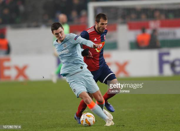 Andreas Christensen of Chelsea FC fights for the ball with Marko Scepovic of Vidi FC during the UEFA Europa League Group Stage Match between Vidi FC...