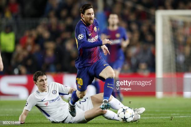 Andreas Christensen of Chelsea FC Lionel Messi of FC Barcelona during the UEFA Champions League round of 16 match between FC Barcelona and Chelsea FC...