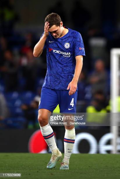 Andreas Christensen of Chelsea FC react after the UEFA Champions League group H match between Chelsea FC and Valencia CF at Stamford Bridge on...
