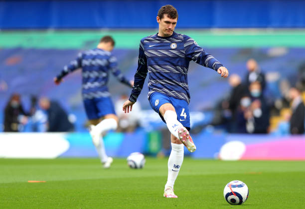 Andreas Christensen of Chelsea FC warms up ahead of the Premier League match between Chelsea and Fulham at Stamford Bridge on May 01, 2021 in London,...