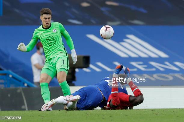 Andreas Christensen of Chelsea fouls Sadio Mane of Liverpool, which after a VAR review leads to Andreas Christensen of Chelsea receiving a straight...