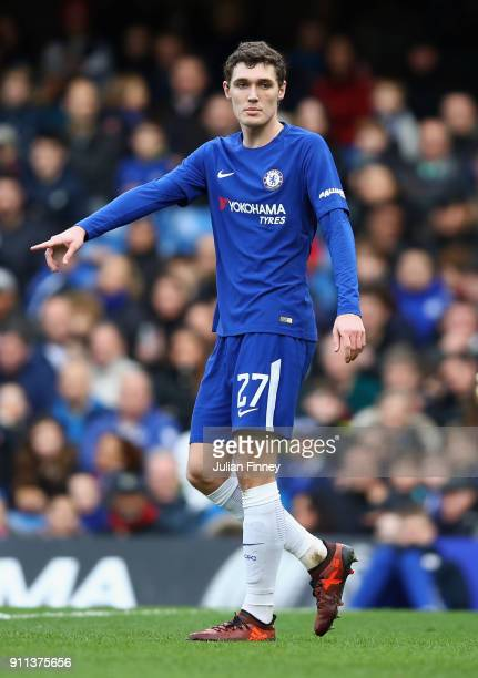 Andreas Christensen of Chelsea gives instructions during The Emirates FA Cup Fourth Round match between Chelsea and Newcastle on January 28 2018 in...