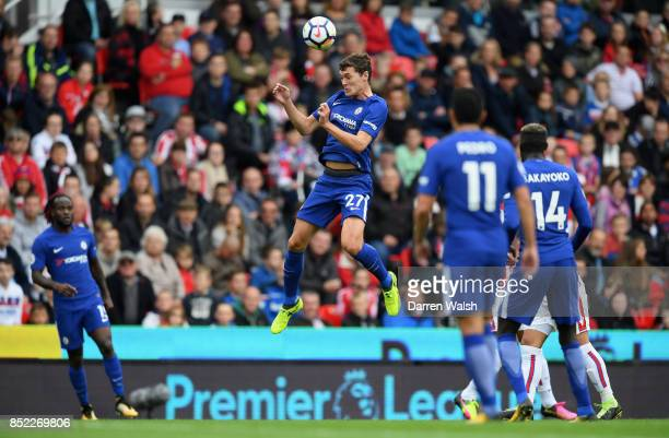 Andreas Christensen of Chelsea heads the ball during the Premier League match between Stoke City and Chelsea at Bet365 Stadium on September 23 2017...