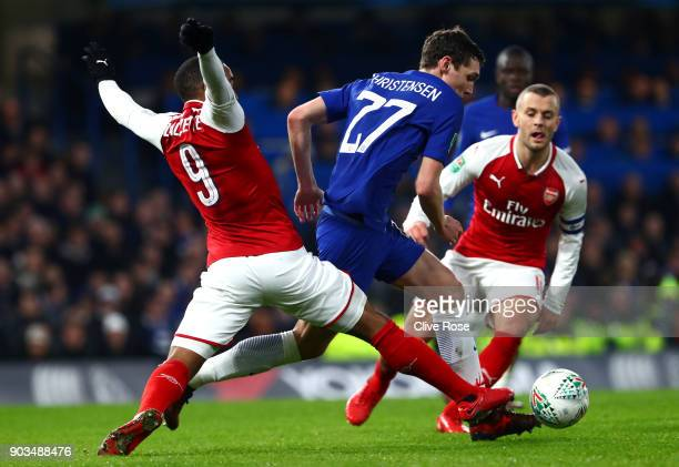 Andreas Christensen of Chelsea holds of Alexandre Lacazette of Arsenal during the Carabao Cup SemiFinal First Leg match between Chelsea and Arsenal...