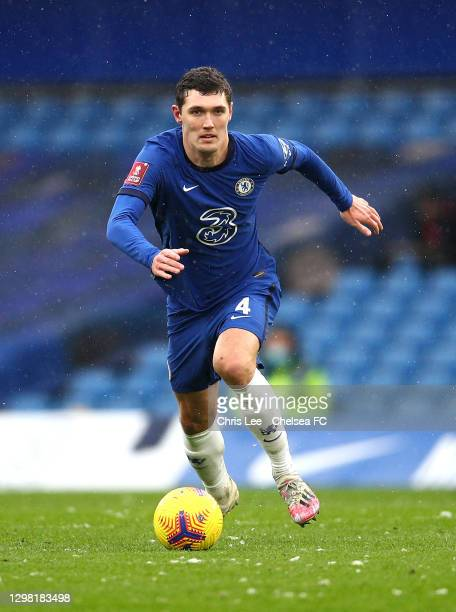 Andreas Christensen of Chelsea in action during The Emirates FA Cup Fourth Round match between Chelsea and Luton Town at Stamford Bridge on January...