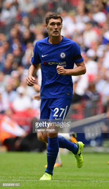 Andreas Christensen of Chelsea in action during the Premier League match between Tottenham Hotspur and Chelsea at Wembley Stadium on August 20 2017...