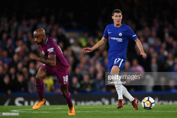 Andreas Christensen of Chelsea in action during the Premier League match between Chelsea and Manchester City at Stamford Bridge on September 30 2017...