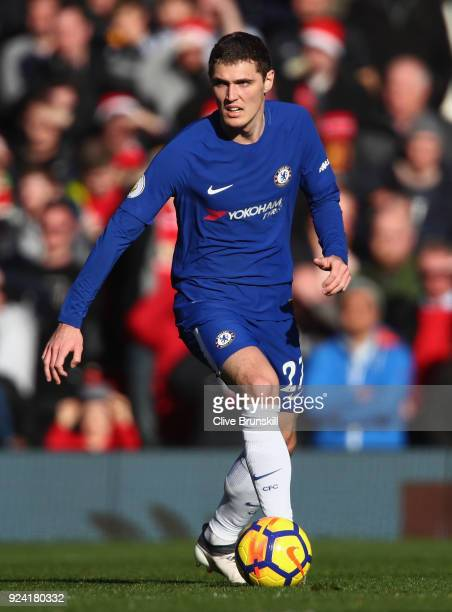 Andreas Christensen of Chelsea in action during the Premier League match between Manchester United and Chelsea at Old Trafford on February 25 2018 in...