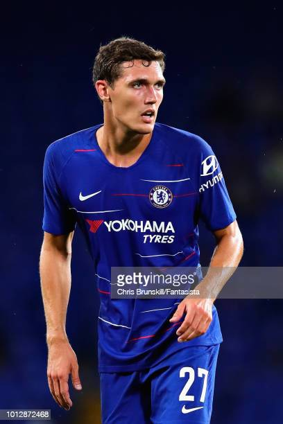Andreas Christensen of Chelsea in action during the preseason friendly match between Chelsea and Olympique Lyonnais at Stamford Bridge on August 7...