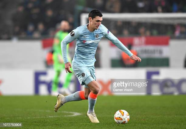 Andreas Christensen of Chelsea in action during the UEFA Europa League Group L match between Vidi FC and Chelsea at Groupama Arena on December 13...