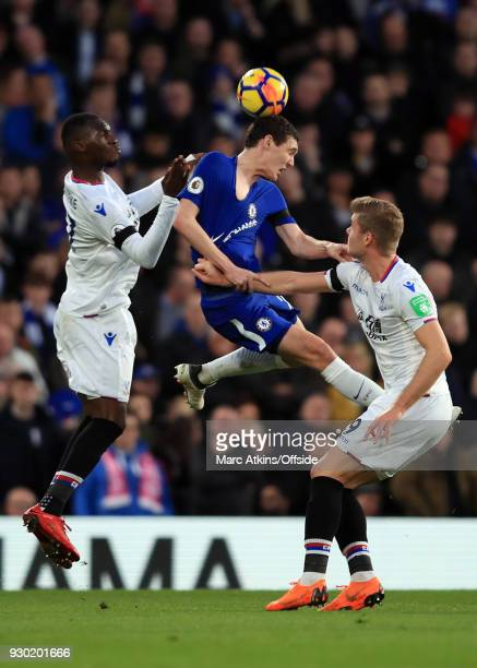 Andreas Christensen of Chelsea in action with Christian Benteke and Alexander Sorloth of Crystal Palace during the Premier League match between...