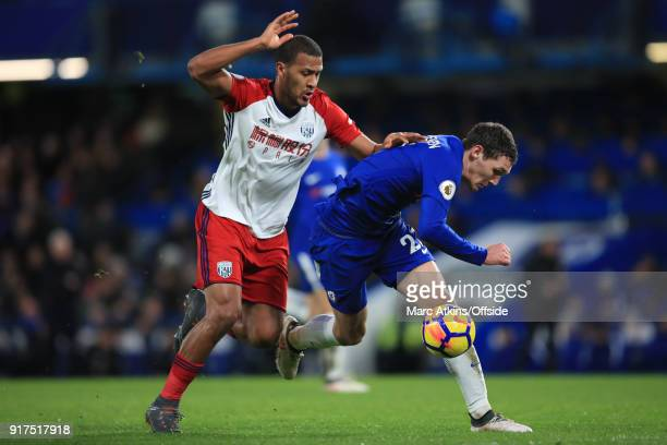Andreas Christensen of Chelsea in action with Salomon Rondon of West Bromwich Albion during the Premier League match between Chelsea and West...