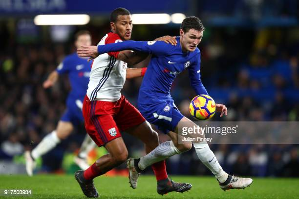 Andreas Christensen of Chelsea is challenged by Jose Salomon Rondon of West Bromwich Albion during the Premier League match between Chelsea and West...