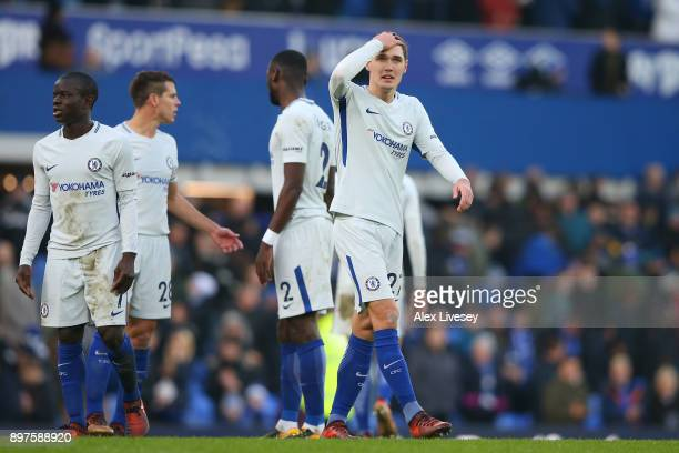 Andreas Christensen of Chelsea look dejected after the Premier League match between Everton and Chelsea at Goodison Park on December 23 2017 in...