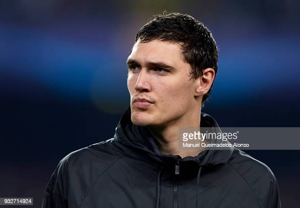 Andreas Christensen of Chelsea looks on prior to the UEFA Champions League Round of 16 Second Leg match between FC Barcelona and Chelsea FC at Camp...