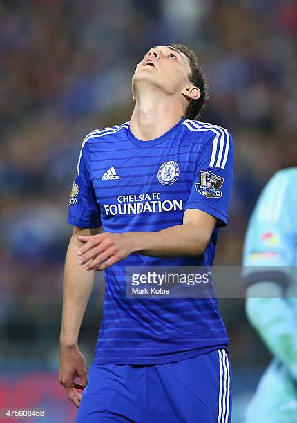 Andreas Christensen of Chelsea reacts after a missed chance during the international friendly match between Sydney FC and Chelsea FC at ANZ Stadium...
