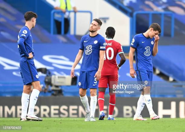 Andreas Christensen of Chelsea reacts after receiving a red card following a VAR Review during the Premier League match between Chelsea and Liverpool...