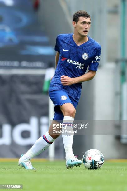 Andreas Christensen of Chelsea runs with the ball during the pre-season friendly match between Borussia Moenchengladbach and FC Chelsea at...