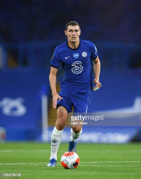 Andreas Christensen of Chelsea runs with the ball during the Premier League match between Chelsea FC and Watford FC at Stamford Bridge on July 04,...