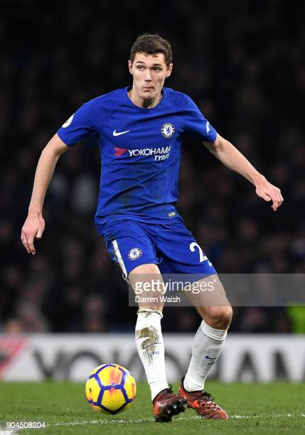 Andreas Christensen of Chelsea runs with the ball during the Premier League match between Chelsea and Leicester City at Stamford Bridge on January 13...