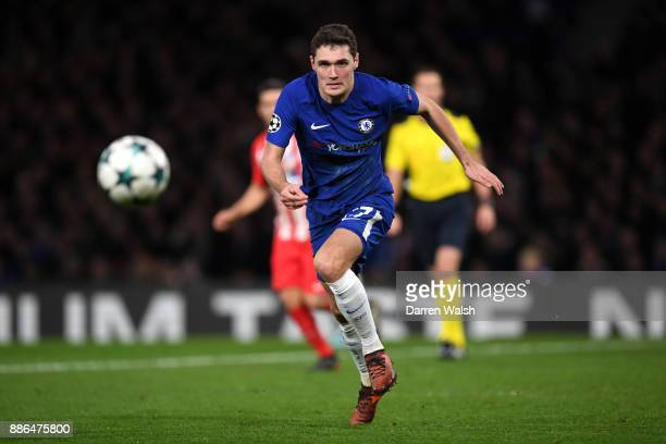 Andreas Christensen of Chelsea runs with the ball during the UEFA Champions League group C match between Chelsea FC and Atletico Madrid at Stamford...