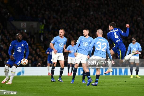 Andreas Christensen of Chelsea scores their team's first goal during the UEFA Champions League group H match between Chelsea FC and Malmo FF at...
