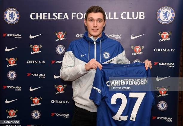 Andreas Christensen of Chelsea signs a new contract at Stamford Bridge on January 9 2018 in London England