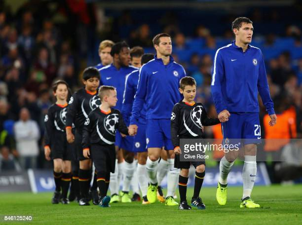 Andreas Christensen of Chelsea walks out prior to the UEFA Champions League Group C match between Chelsea FC and Qarabag FK at Stamford Bridge on...