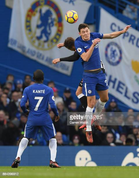 Andreas Christensen of Chelsea wins a header during the Premier League match between Chelsea and Newcastle United at Stamford Bridge on December 2...