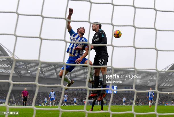 Andreas Christensen of Chelsea wins a header over Tomer Hemed of Brighton and Hove Albion during the Premier League match between Brighton and Hove...