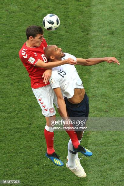 Andreas Christensen of Denmark and Steven N'Zonzi of France battle for a header during the 2018 FIFA World Cup Russia Group C match between Denmark...
