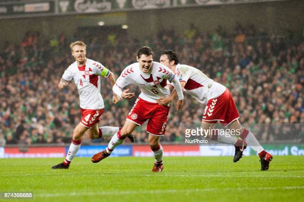 Andreas Christensen of Denmark celebrates after his scoring during the FIFA World Cup 2018 PlayOff match between Republic of Ireland and Denmark at...