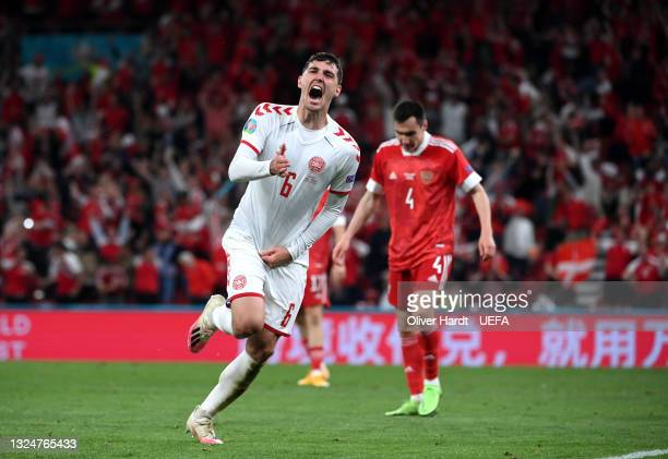 Andreas Christensen of Denmark celebrates after scoring their side's third goal during the UEFA Euro 2020 Championship Group B match between Russia...